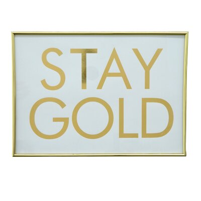 Inspirational Framed Textual Art in Gold
