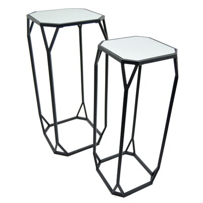 Farthing 2 Piece Nesting Tables Color: Black