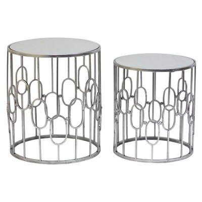 Round Metal 2 Piece Nesting Tables