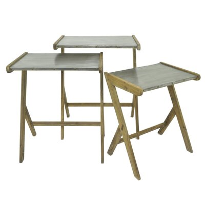 Petoskey Wood/Metal 3 Piece Nesting Tables