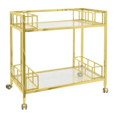 Metal/Glass Bar Cart Color: Gold