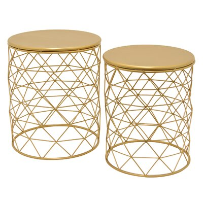 Oval Metal 2 Piece Nesting Tables Color: Gold