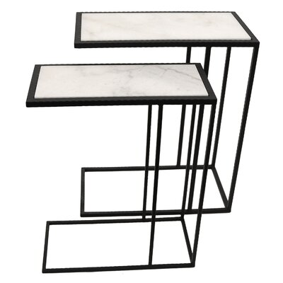 Rectangle Metal 2 Piece Nesting Tables