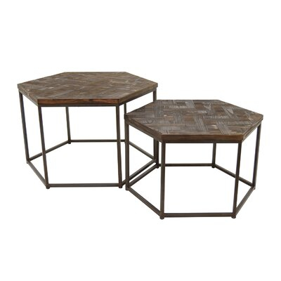 Wood/Metal 2 Piece Nesting Tables