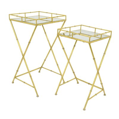Contemporary Metal/Mirrored 2 Piece Nesting Tables
