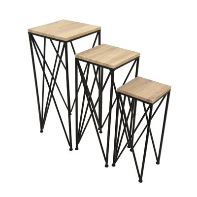 Fabien Wood/Metal 3 Piece Nesting Tables