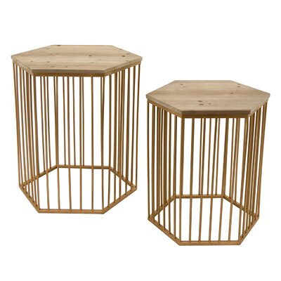 Contemporary Wood/Metal 2 Piece Nesting Tables