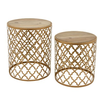 Oval Wood/Metal 2 Piece Nesting Tables