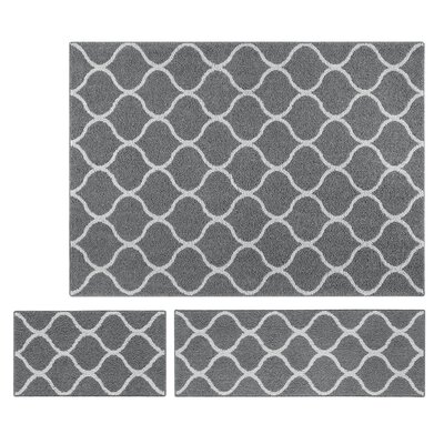 Hershman 3 Piece Gray Area Rug Set