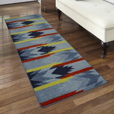 Shane Blue/Orange Area Rug Rug Size: Runner 2 x 6