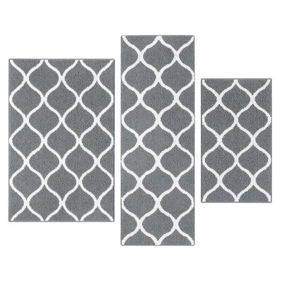 Carissa 3 Piece Gray Indoor Area Rug Set