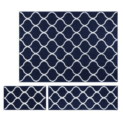 Carissa 3 Piece Navy Area Rug Set