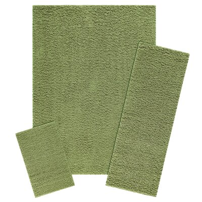 Claire 3 Piece Moss Green Area Rug Set