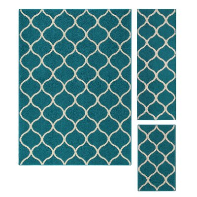 Carissa 3 Piece Blue Area Rug Set