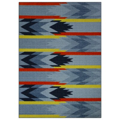 Shane Blue/Orange Area Rug Rug Size: 5 x 7
