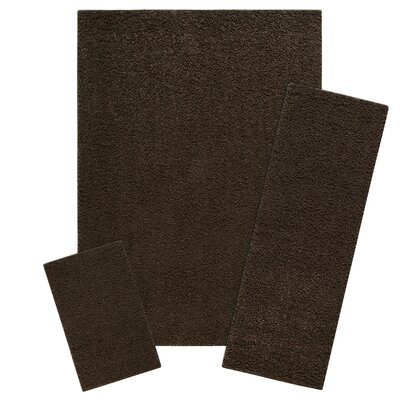 Claire 3 Piece Brown Suede Area Rug Set