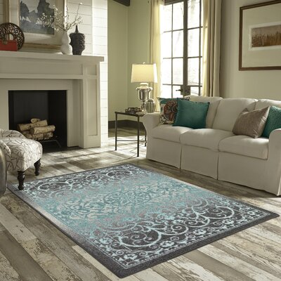 Landen Gray/Blue Area Rug Rug Size: 18 x 210