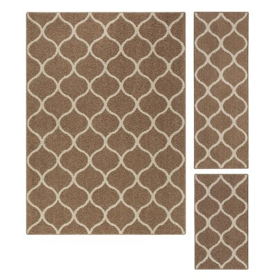 Carissa 3 Piece Brown Area Rug Set