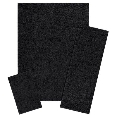 Claire 3 Piece Black Area Rug Set