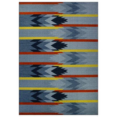 Shane Blue/Orange Area Rug Rug Size: 7 x 10