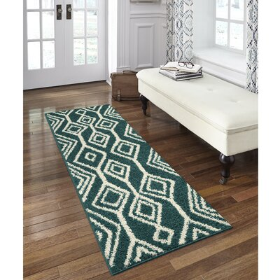 Selena Green/White Area Rug Rug Size: Runner 2 x 6