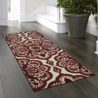 Hertel Red Area Rug Rug Size: Runner 2 x 6