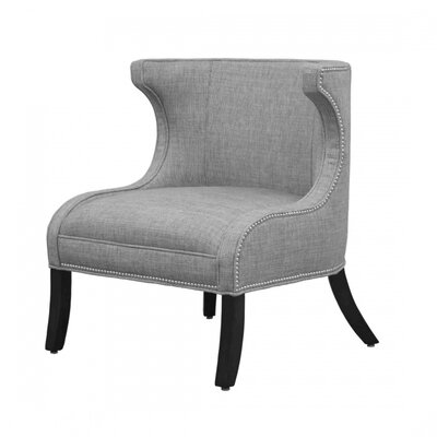 Ezra Wingback Chair Finish: Honey, Upholstery: Indigo, Nailhead Detail: Antique Brass