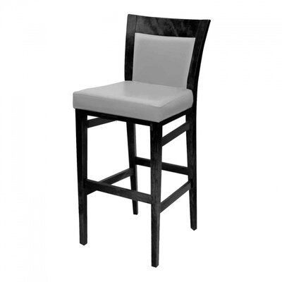 Landon 43 inch Barstool with Cushion Upholstery: Indigo, Finish: Honey