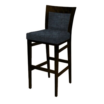 Landon 43 Barstool with Cushion Finish: Montana Walnut, Upholstery: Indigo