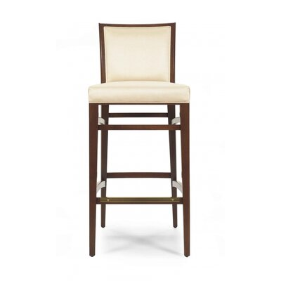 Baylee 43 Barstool with Cushion Upholstery: Cream, Finish: Honey