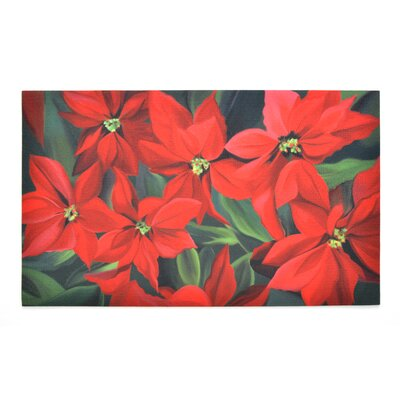 Poinsettia Crumb Rubber Doormat