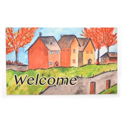 Cottages in the Fall Crumb Rubber Doormat