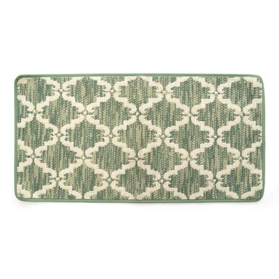 Lattimore Ultra Plush Pacific Knitted Loop Pile Polyester Bath Rug Color: Green