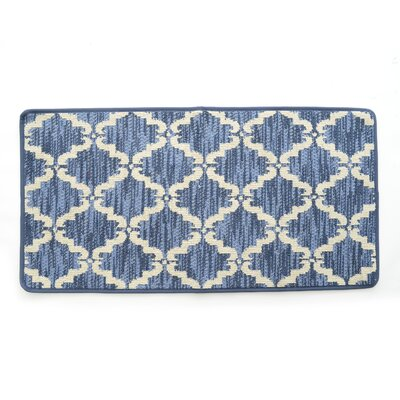 Lattimore Ultra Plush Pacific Knitted Loop Pile Polyester Bath Rug Color: Blue