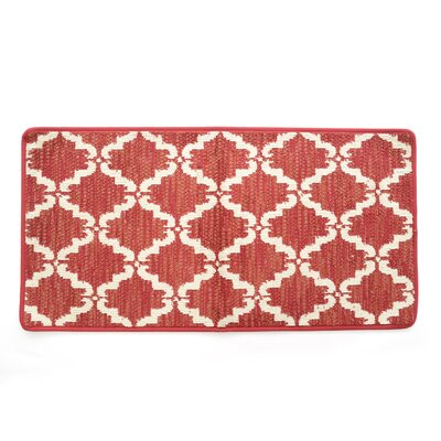 Lattimore Ultra Plush Pacific Knitted Loop Pile Polyester Bath Rug Color: Red