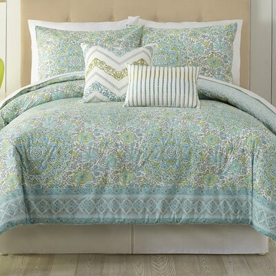 Stamped 5 Piece Comforter Set Size: Queen
