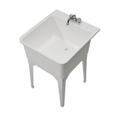 Essential 22.75 x 25.25 Single Free Standing Laundry Sink with Faucet