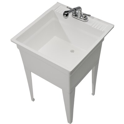 Heavy Duty 23.75 x 24.75 Single Freestanding Laundry Sink with Faucet Sink Finish: White