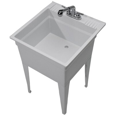 Heavy Duty 23.75 x 24.75 Single Freestanding Laundry Sink with Faucet Sink Finish: Granite