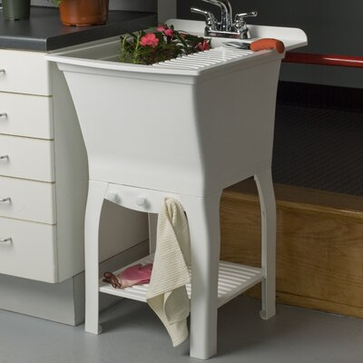 Fitz Workstation 20.5 x 25.75 Freestanding Laundry Utility Sink with Faucet