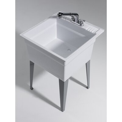 Heavy Duty 22.75 x 25.25 Freestanding Laundry Utility Sink with Faucet Sink Finish: Granite