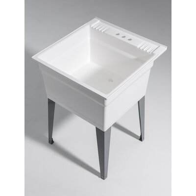 Heavy Duty 23.75 x 24.75 Freestanding Laundry Utility Sink Sink Finish: White
