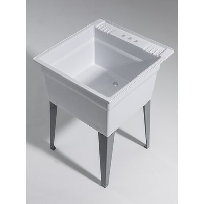 Heavy Duty 23.75 x 24.75 Freestanding Laundry Utility Sink Sink Finish: Granite