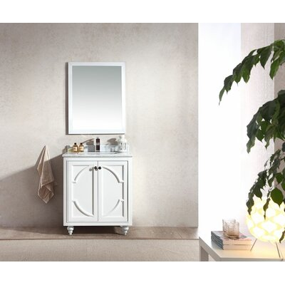 Odyssey 30 Single Bathroom Vanity Set with Mirror Top Finish: White Carrera, Base Finish: White