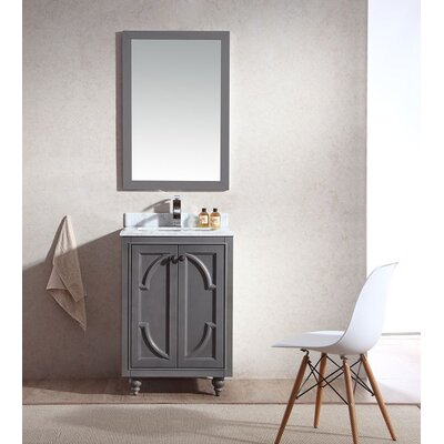 Odyssey 24 Single Bathroom Vanity Set with Mirror Base Finish: Maple Gray, Top Finish: White Carrera