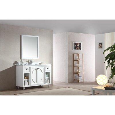 Odyssey 48 Single Bathroom Vanity Set with Mirror Top Finish: White Carrera, Base Finish: White