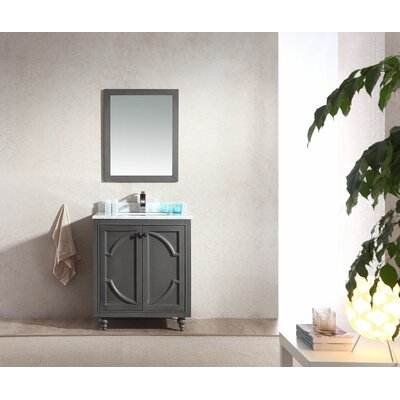 Odyssey 30 Single Bathroom Vanity Set with Mirror Base Finish: Maple Gray, Top Finish: White Carrera