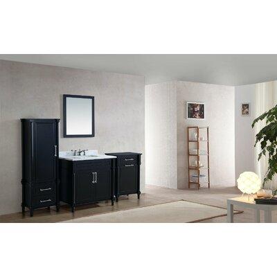 Continental 36 Single Bathroom Vanity Set with Mirror Base Finish: Espresso, Top Finish: White Carrera