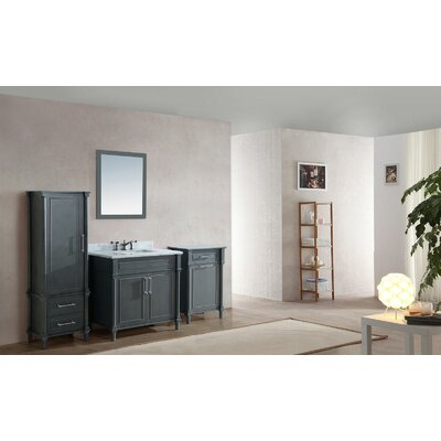 Continental 36 Single Bathroom Vanity Set with Mirror Top Finish: White Carrera, Base Finish: Maple Gray