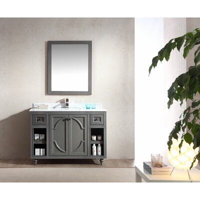 Odyssey 48 Single Bathroom Vanity Set with Mirror Base Finish: Maple Gray, Top Finish: White Carrera